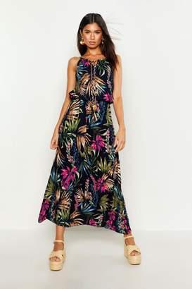 539e104baa7b boohoo Tropical Print Maxi Dress With Tie & Beading Detail