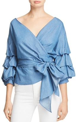 Do and Be Chambray Wrap Top $68 thestylecure.com