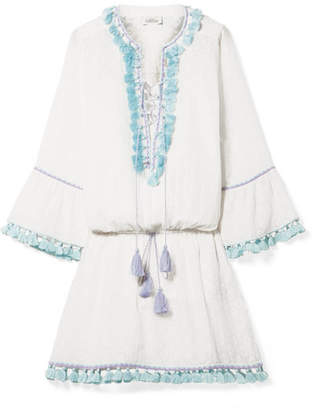 Talitha - Ria Tasseled Embroidered Cotton And Silk-blend Mini Dress - White