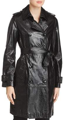Elie Tahari Natania Leather Trench Coat