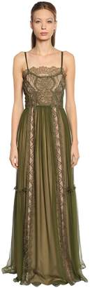 Alberta Ferretti Lace & Chiffon Long Dress
