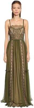 Alberta Ferretti Lace & Chiffon Long Dress