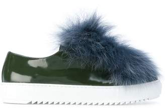 Mr & Mrs Italy fur trim embellished sneakers