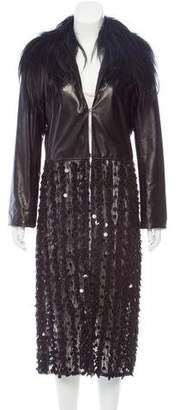 Rodarte Leather-Paneled Shearling-Trimmed Coat
