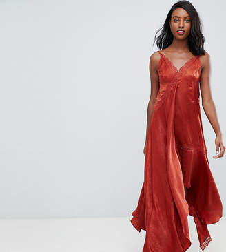 Asos Tall DESIGN Tall satin midaxi slip dress with lace trim