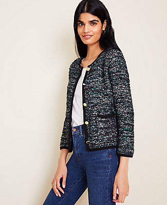 Ann Taylor Gilded Button Tweed Jacket