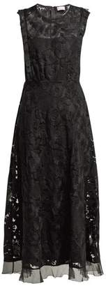 RED Valentino Floral Embroidered Tulle Dress - Womens - Black