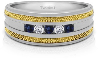 TwoBirch Diamonds (G,I2) and Sapphire Mounted in Sterling Silver Diamonds (G,I2) and Sapphire Mens Fashion Ring (0.5crt)