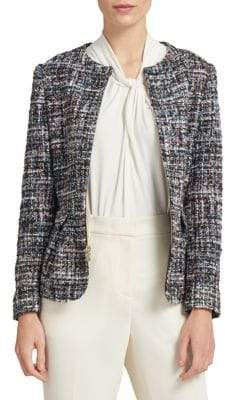 Donna Karan Collarless Full-Zip Jacket