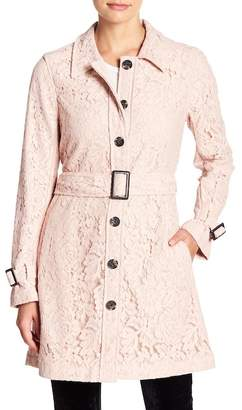 Cupcakes And Cashmere Auretta Lace Belted Trench Coat