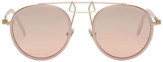 Calvin Klein Pink Round Clip Bridge Sunglasses