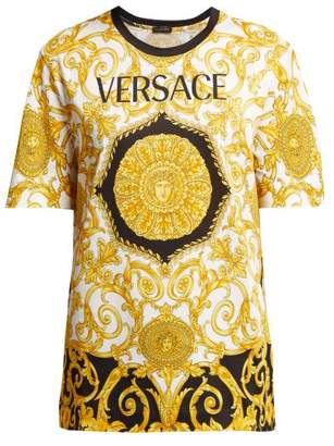Versace Baroque Print Cotton T Shirt - Womens - Gold Multi