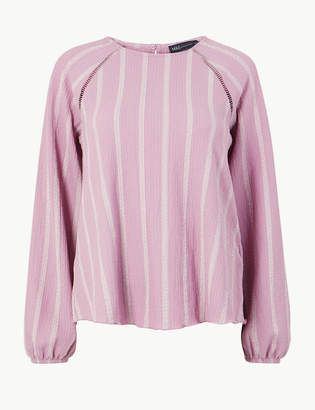 Marks and Spencer Striped Round Neck Long Sleeve Blouse
