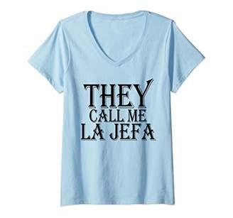 Womens They call me La Jefa Patron The Boss Spanish V-Neck T-Shirt