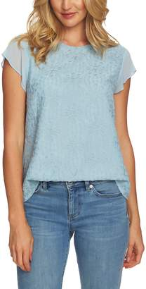 CeCe Flutter Sleeve Embroidered Top