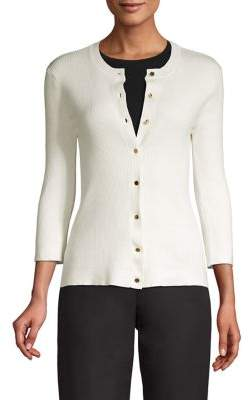 T Tahari Three-Quarter Sleeve Ribbed Cardigan