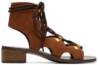 See by Chloe Orange Suede Gladiator Tie Sandals