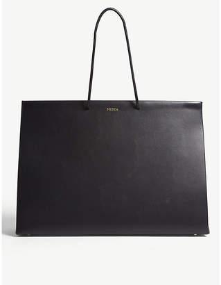 Medea Black Leather Box Tote Bag