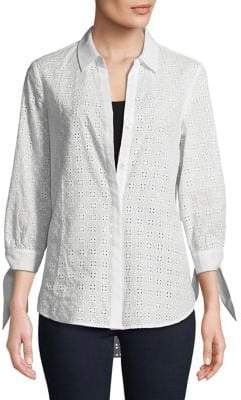 Isaac Mizrahi IMNYC Eyelet Mix Tie Cuff Button Up Tunic Shirt