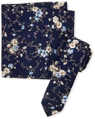 Original Penguin Navy Warner Floral Tie & Pocket Square Set