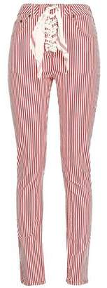 Rockins Lace-up Striped High-rise Skinny Jeans