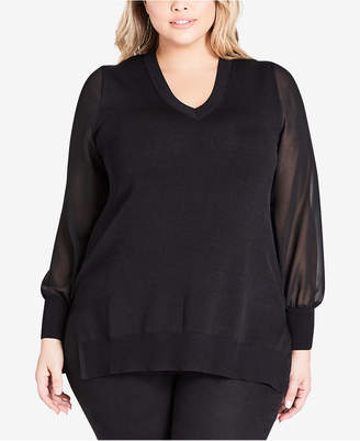 City Chic Trendy Plus Size Sheer-Sleeve Top
