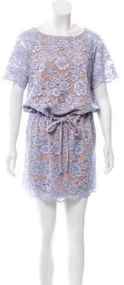 Diane von Furstenberg Short Sleeve Lace Mini Dress