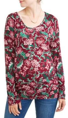 Liz Lange Maternity Side Ruched Long Sleeve Floral Top