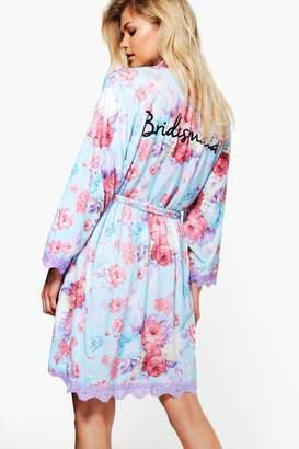 boohoo Floral Bridesmaid Slogan Robe