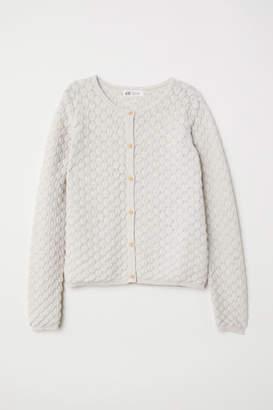 H&M Textured-knit Cardigan - Beige