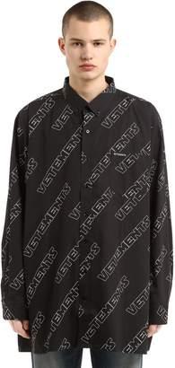 Vetements Logo Printed Poplin Shirt