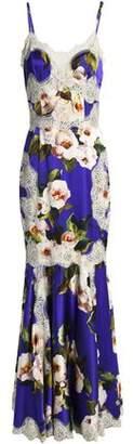 Dolce & Gabbana Lace-Appliquéd Floral-Print Silk-Blend Maxi Dress