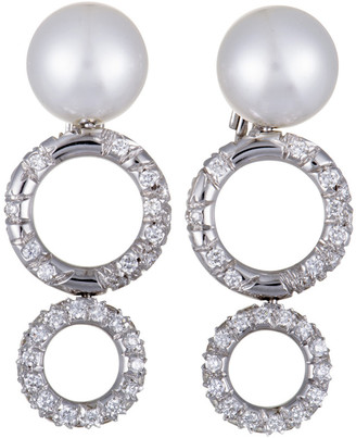 Mikimoto 18K 1.90 Ct. Tw. Diamond & 10-11Mm Pearl Earrings
