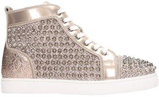 Christian Louboutin Louis Orlato Spikes Bronze Leather Sneakers