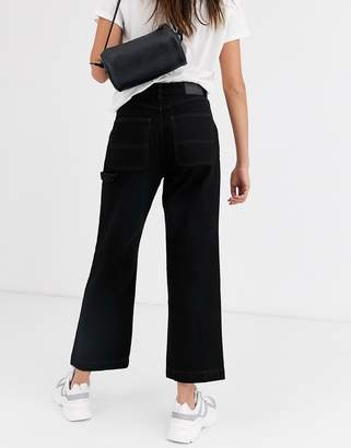 Monki straight leg jeans with contrast stitching in black