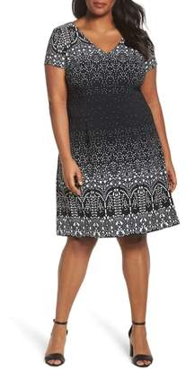 Adrianna Papell Lace Majesty Print A-Line Dress