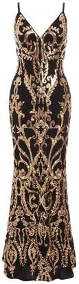 Quiz Black and Gold Sequin Strappy Fishtail Maxi