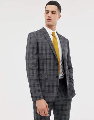 Farah Smart slim fit check suit jacket in gray