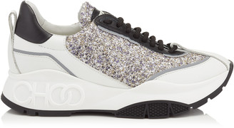Jimmy Choo RAINE Platinum Mix Calf and Painted Coarse Glitter Fabric Lace Up Sneakers