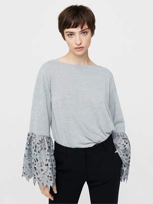 MANGO Lace Sleeve Top
