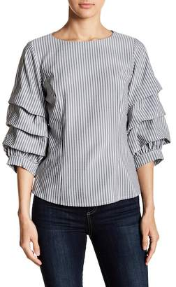 Gracia Striped Ruched Sleeve Blouse