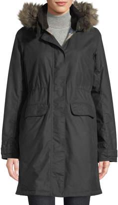 Barbour Galloway Waxed Jacket w/ Detachable Faux-Fur Hood