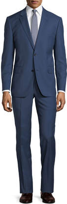 Neiman Marcus Two-Button Sharkskin Two-Piece Suit, Blue