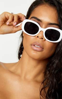 PrettyLittleThing White Oval Shape Retro Sunglasses