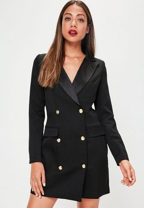 Missguided Black Button Tuxedo Blazer Dress