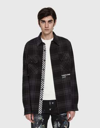 Off-White Off White Quote Flannel Shirt In Black