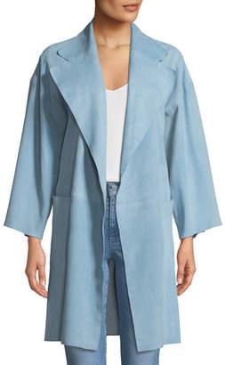 Theory Open-Front Suede Kimono Coat
