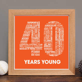 mrs L cards Personalised 40th Birthday Print