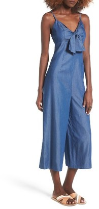 Women's Soprano Tie Front Chambray Jumpsuit $55 thestylecure.com
