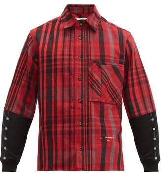 Off-White Off White Contrast Panel Checked Cotton Blend Shirt - Mens - Black Red